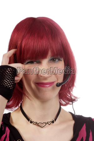 woman with headset unsure