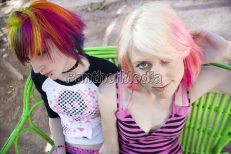 punk, girls, on, a, bench - 1371201