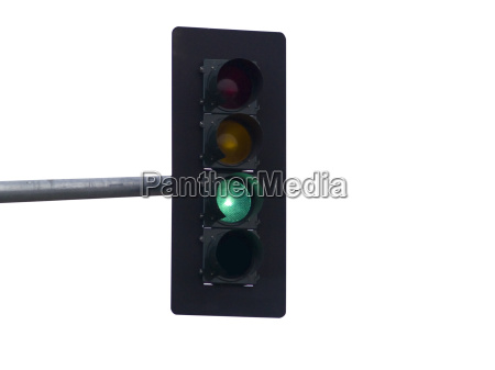 green traffic light isolated