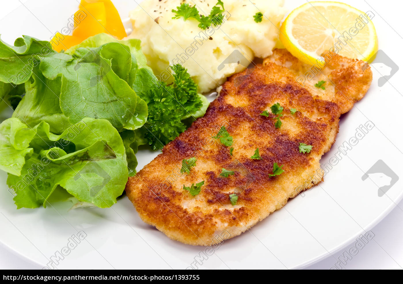 schnitzel, -paned, with, salad - 1393755
