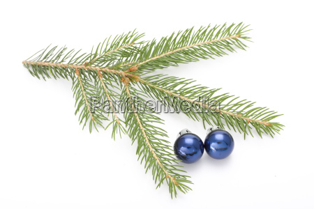 spruce twig and christmas decorations