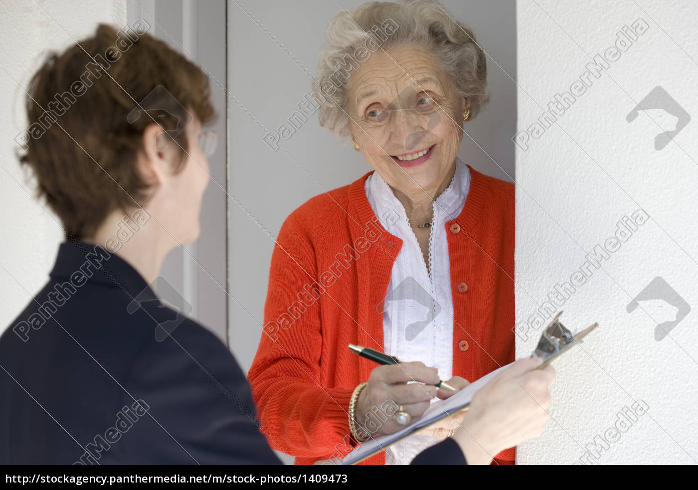 smiling, senior, woman, signing, petetion - 1409473