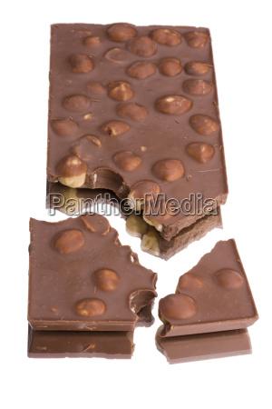 schokolade auf weissem hintergrund