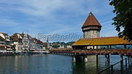 bridge switzerland water tower lucerne emblem