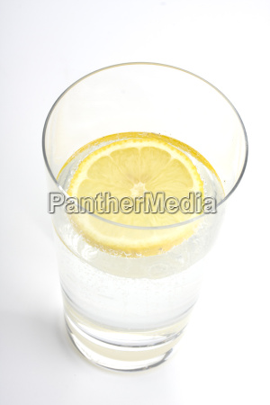 glass of mineral water with lemon