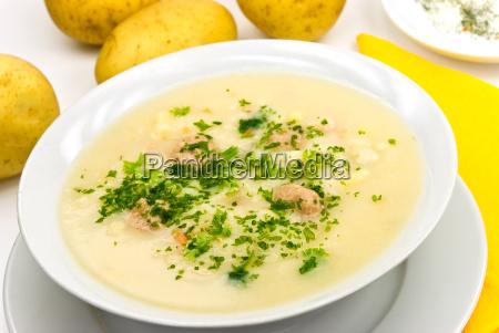 potato cream soup with meatballs