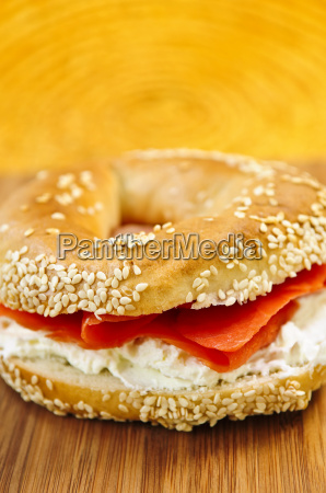 bagel, with, smoked, salmon, and, cream - 1456523