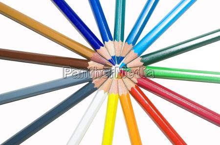 set colorful crayons radiating