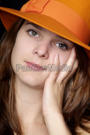 woman, with, orange, hat - 1468215