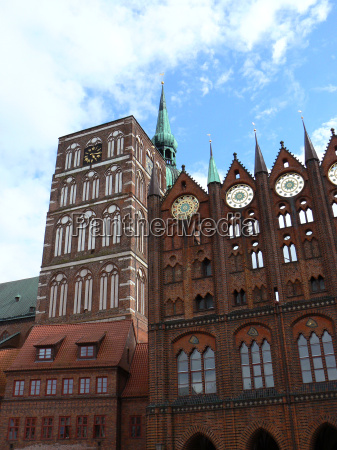 church and city hall in stralsund