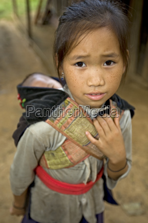 hmong girl with brother laos