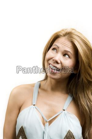 ethnic woman on white background