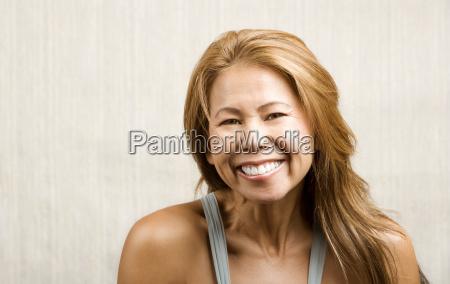 ethnic woman on white print background