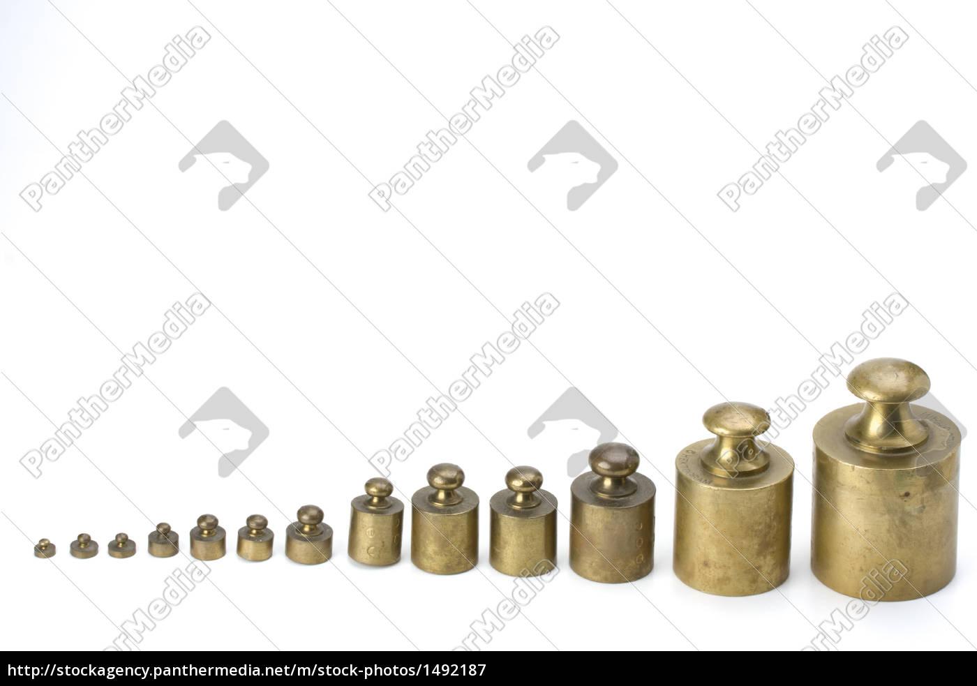 brass, weights, on, white, background - 1492187