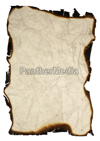 crumpled paper with burned edges