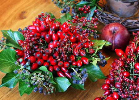 autumn arrangement with rosehips