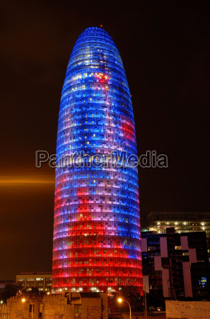 torre agbar by night barcelona spain