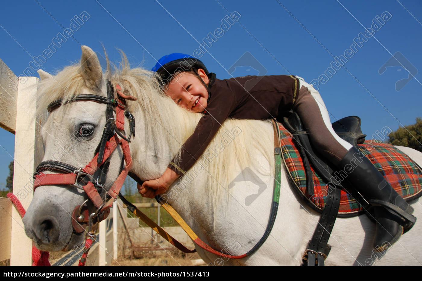 little, girl, and, shetland, pony - 1537413