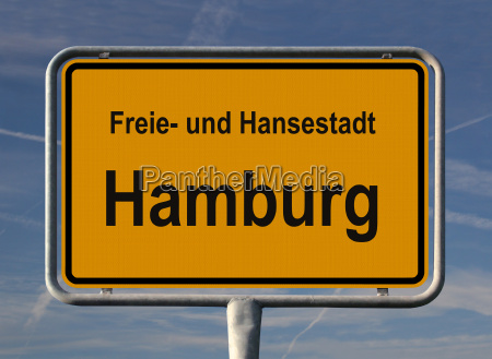 ortsschild free and hanseatic city of