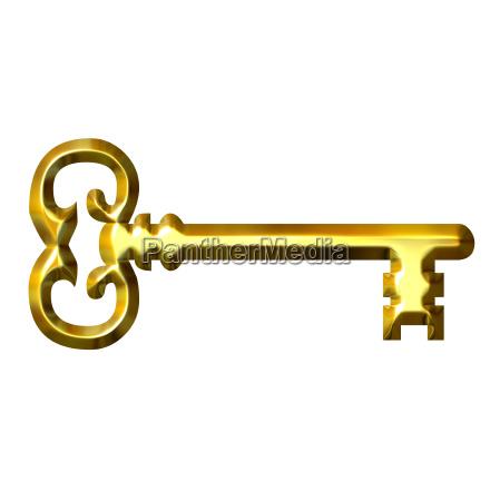 3d, golden, vintage, key - 1567939