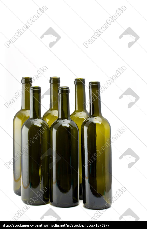 six, empty, wine, bottles, isolated - 1576877