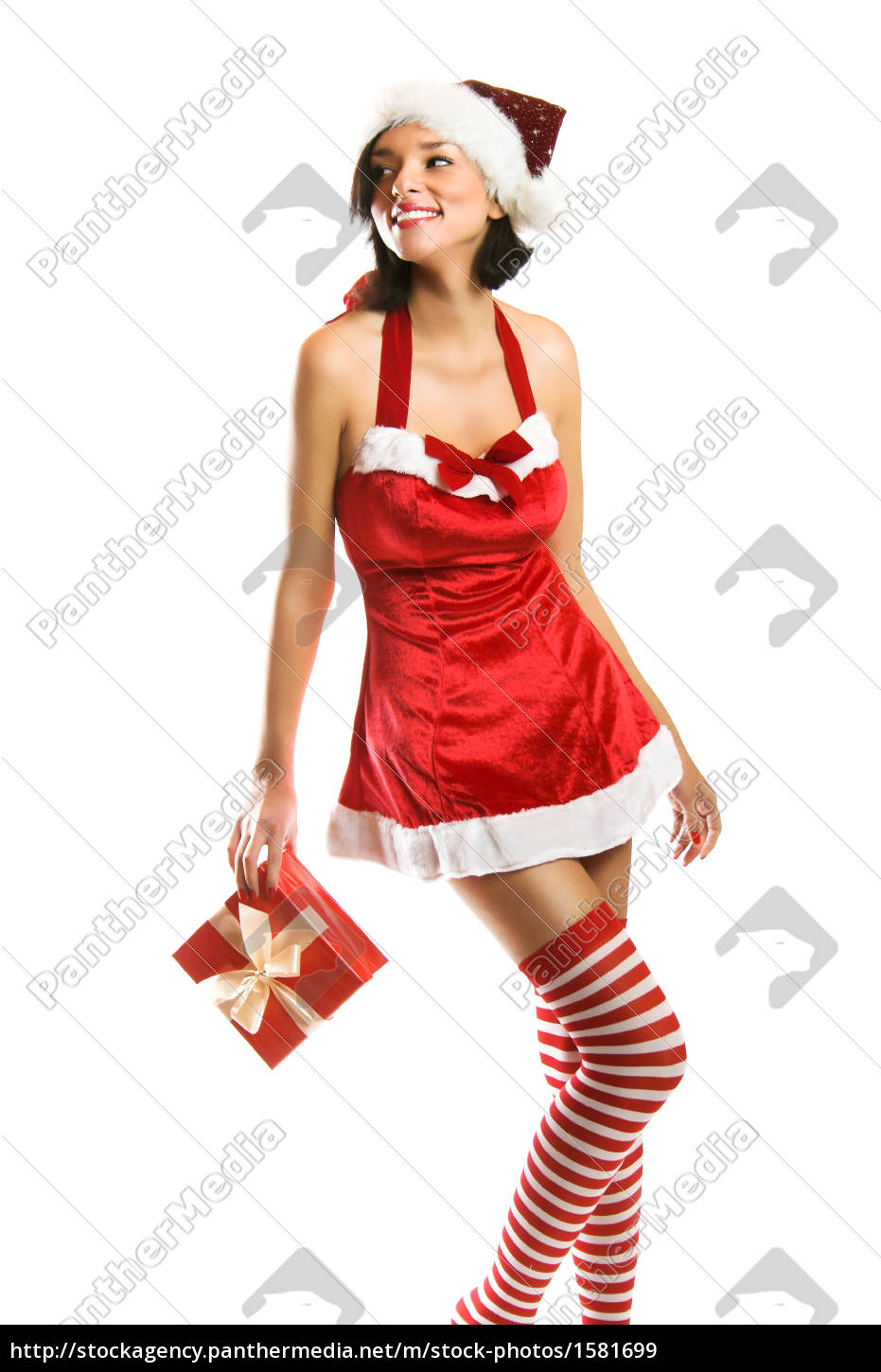 laughing, christmas, woman, with, gift - 1581699
