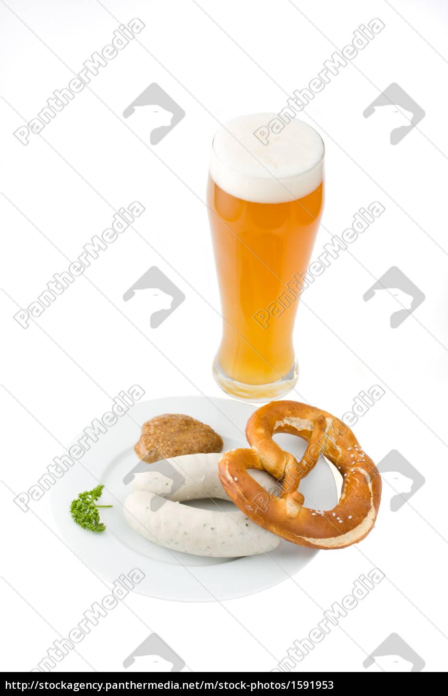 bavarian, white, sausage, wheat, beer, and, pretzel - 1591953