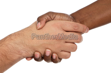 african, and, caucasian, male, shaking, hands - 1609721
