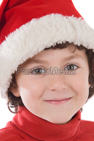 adorable boy with red hat of
