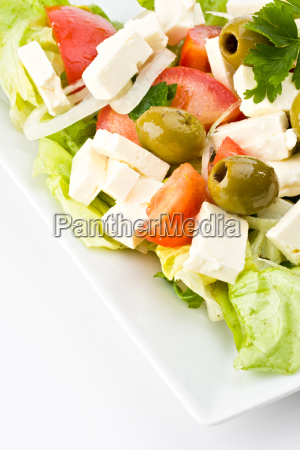 detail of a greek salad on