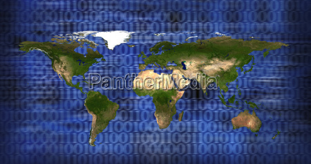 world map on blue backg