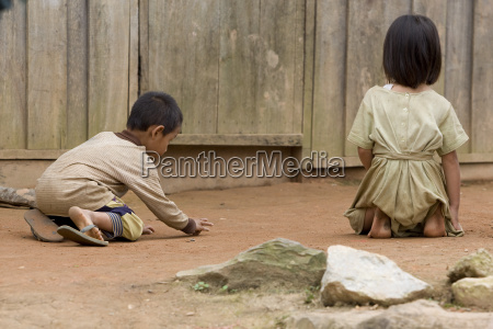 hmong children when playing in laos