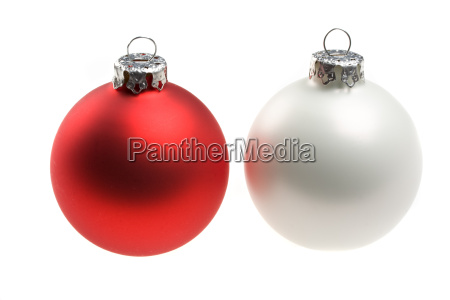 red and white christmas tree ball