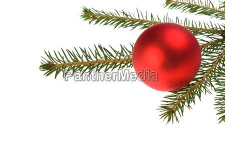 rote christbaumkugel und fichtenzweig