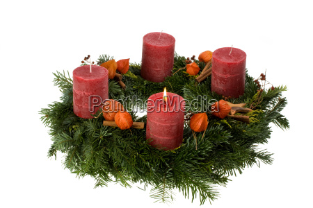 advent wreath isolated on white