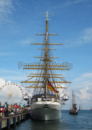 the gorch fock in warnemuende harbor