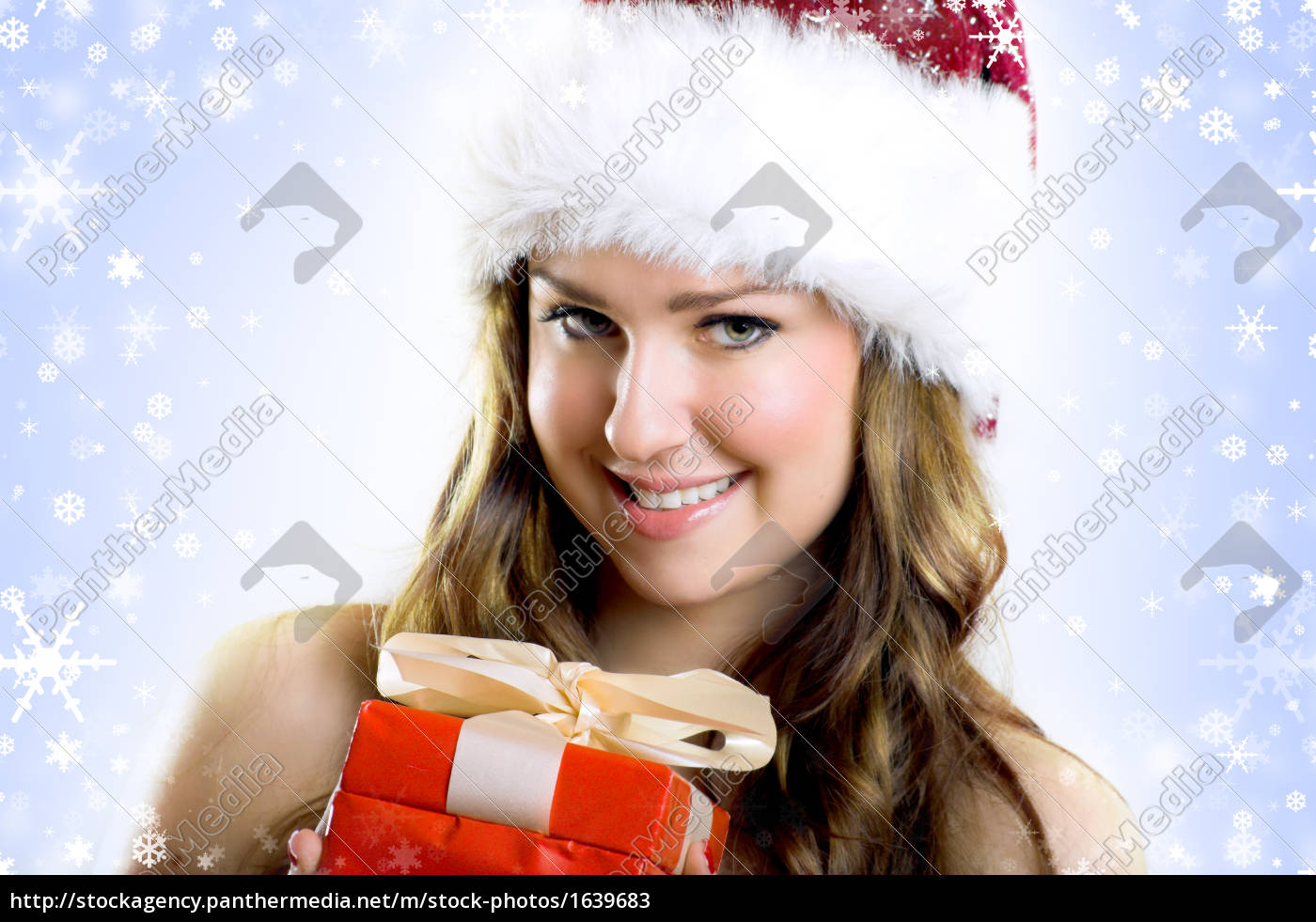 laughing, christmas, woman, with, gift - 1639683