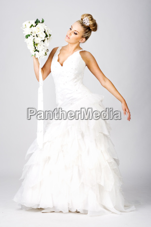 happy, young, bride, with, bouquet, on - 1642521