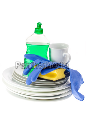 dishes sponge and dish soap