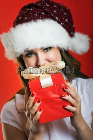 christmas, woman, with, gift - 1656759