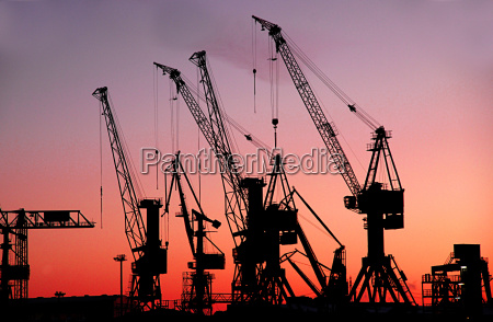 harbor cranes in the port of