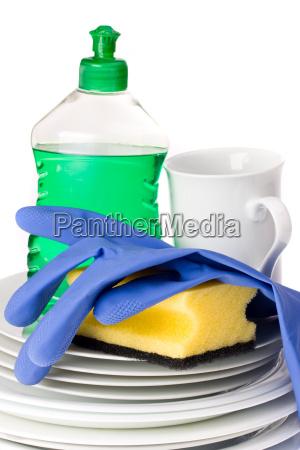 dishwaresponge and dishwashing liquid isolated on