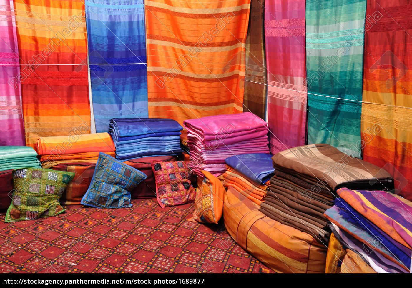 oriental, fabrics, in, fes, morocco - 1689877