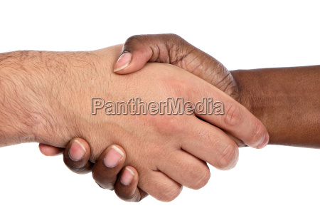 african, and, caucasian, male, shaking, hands - 1697095