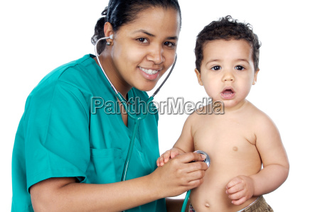 young, pediatrician, with, baby - 1702187