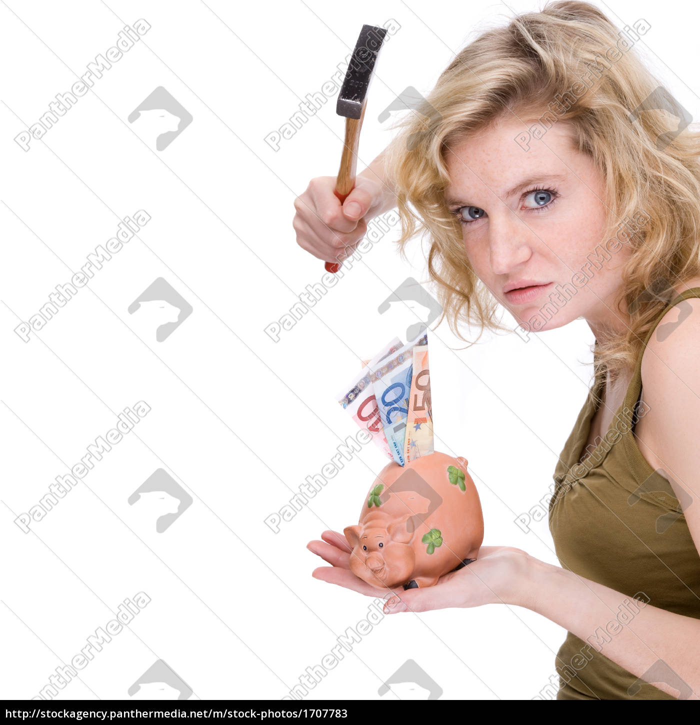 woman, with, piggy, bank - 1707783