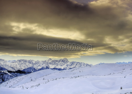 the carnic alps in winter