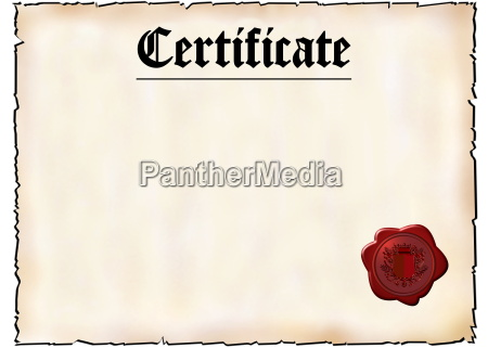 blank certificate with red wax seal