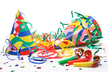 party hats paper streamer and whistles