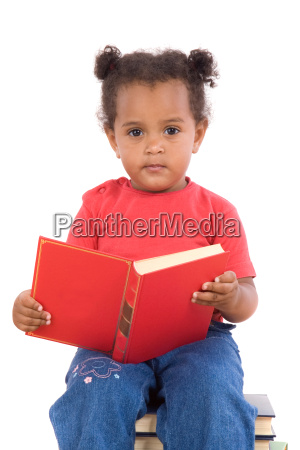 baby, reading, sitting, on, a, pile - 1727801